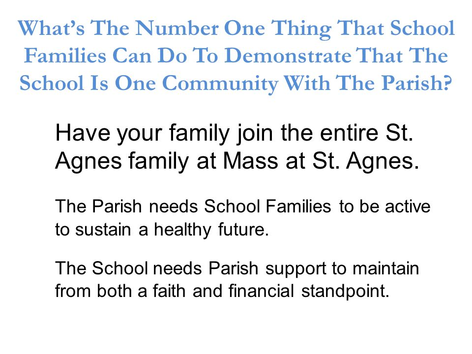 Whats The Number One Thing That School Families Can Do To Demonstrate That The School Is One Community With The Parish.