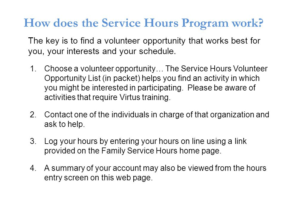 How does the Service Hours Program work.
