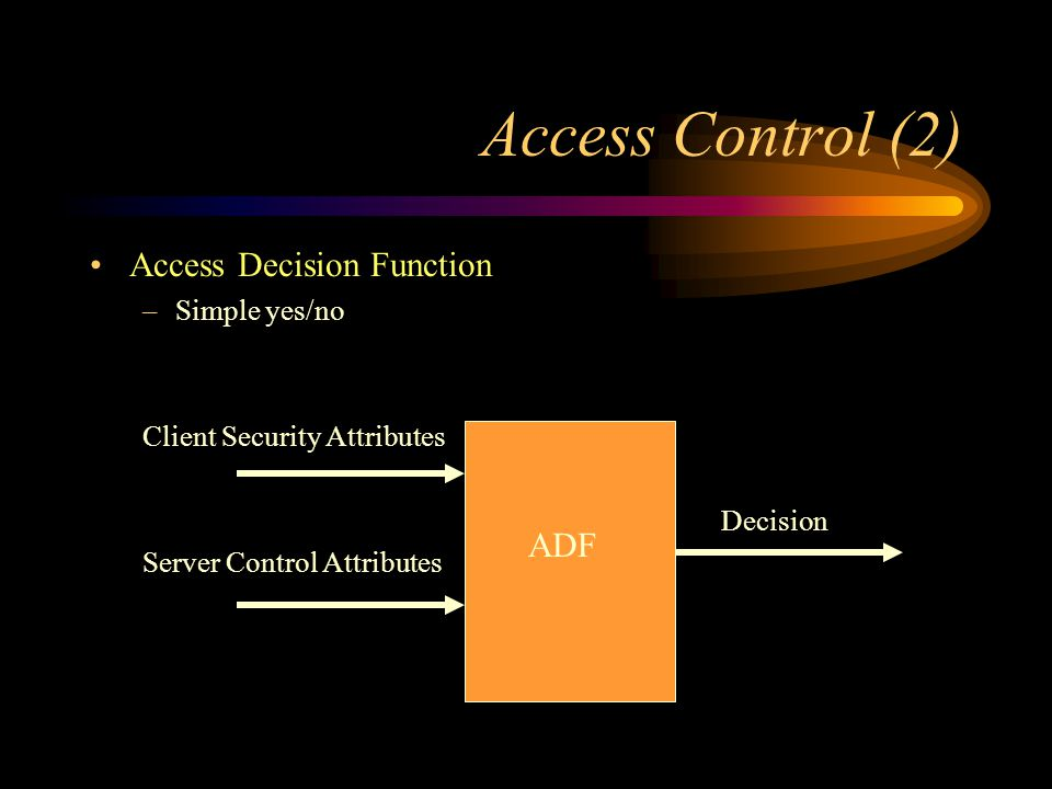 Access Decision Function –Simple yes/no Client Security Attributes Decision Server Control Attributes Access Control (2) ADF