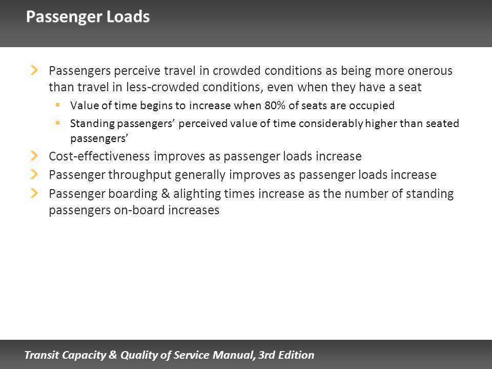 Transit Capacity & Quality of Service Manual, 3rd Edition Passenger Loads Passengers perceive travel in crowded conditions as being more onerous than travel in less-crowded conditions, even when they have a seat Value of time begins to increase when 80% of seats are occupied Standing passengers perceived value of time considerably higher than seated passengers Cost-effectiveness improves as passenger loads increase Passenger throughput generally improves as passenger loads increase Passenger boarding & alighting times increase as the number of standing passengers on-board increases