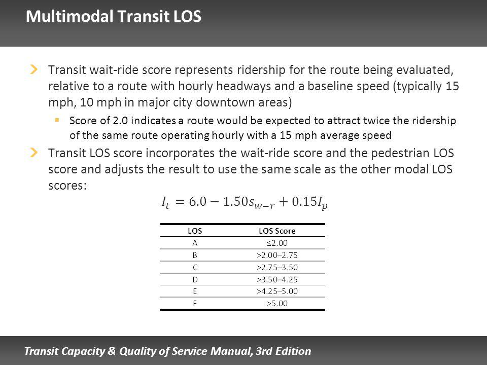 Transit Capacity & Quality of Service Manual, 3rd Edition Multimodal Transit LOS