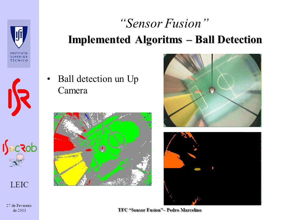 TFC Sensor Fusion– Pedro Marcelino LEIC 27 de Fevereiro de 2003 Ball detection un Up Camera Implemented Algoritms – Ball Detection Sensor Fusion Implemented Algoritms – Ball Detection