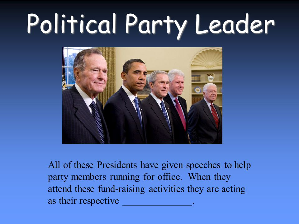 Political Party Leader All of these Presidents have given speeches to help party members running for office.