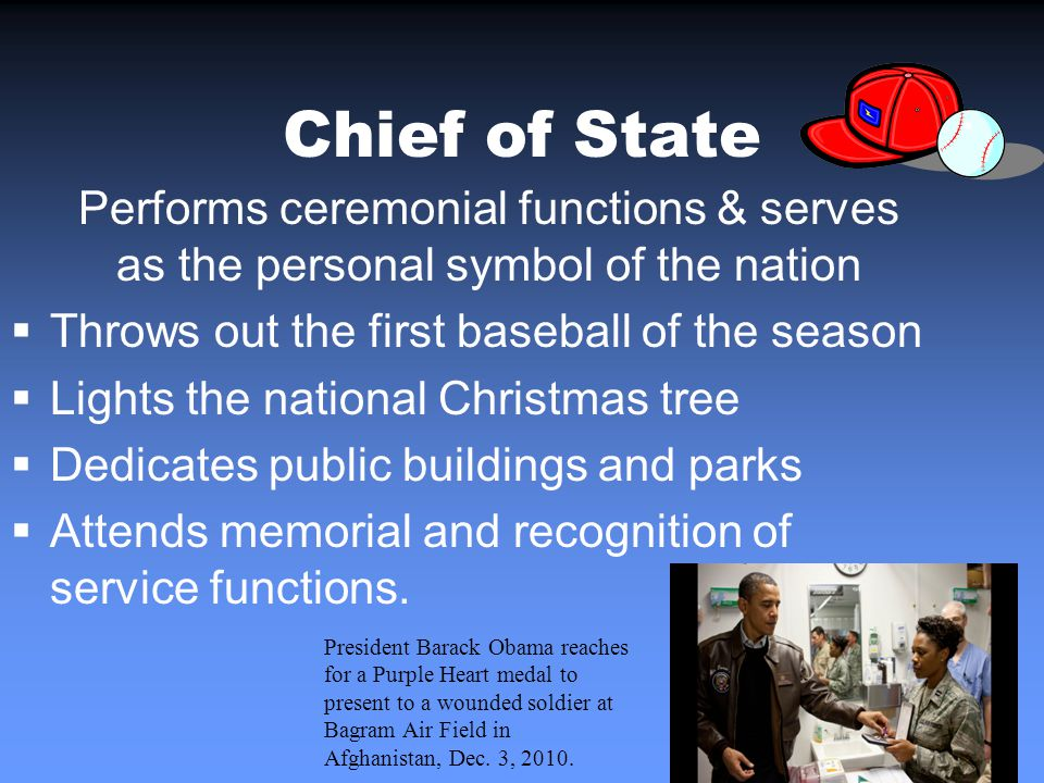 Chief of State Performs ceremonial functions & serves as the personal symbol of the nation Throws out the first baseball of the season Lights the national Christmas tree Dedicates public buildings and parks Attends memorial and recognition of service functions.