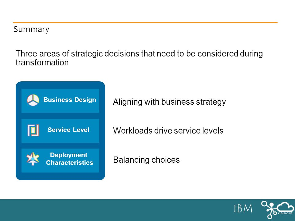 IBM Summary Aligning with business strategy Workloads drive service levels Balancing choices Business Design Service Level Deployment Characteristics Three areas of strategic decisions that need to be considered during transformation