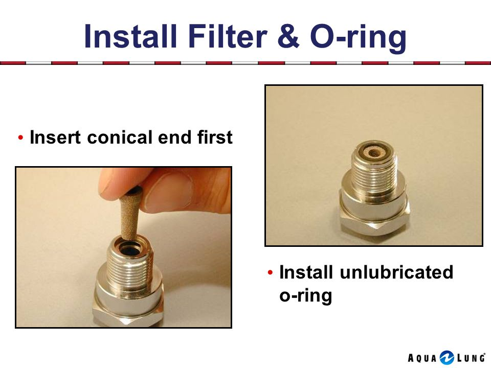 Install Filter & O-ring Install unlubricated o-ring Insert conical end first