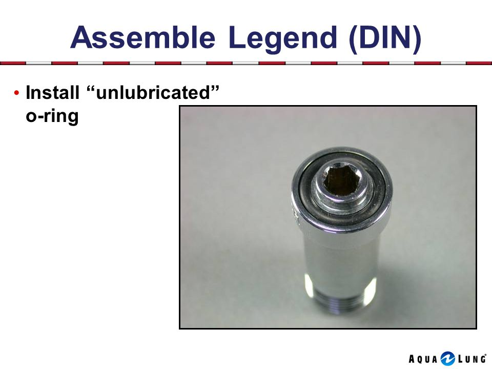 Assemble Legend (DIN) Install unlubricated o-ring