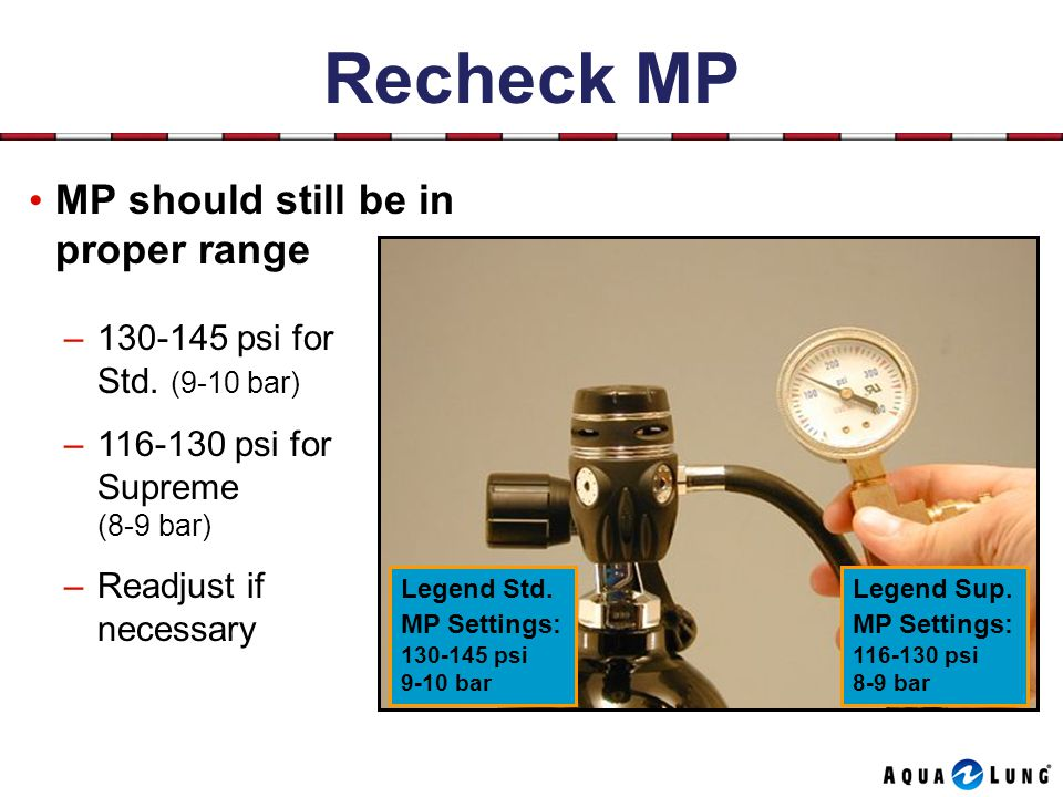 Recheck MP MP should still be in proper range –130-145 psi for Std.