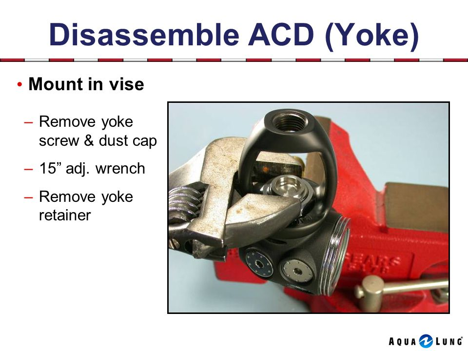 Disassemble ACD (Yoke) Mount in vise –Remove yoke screw & dust cap –15 adj.