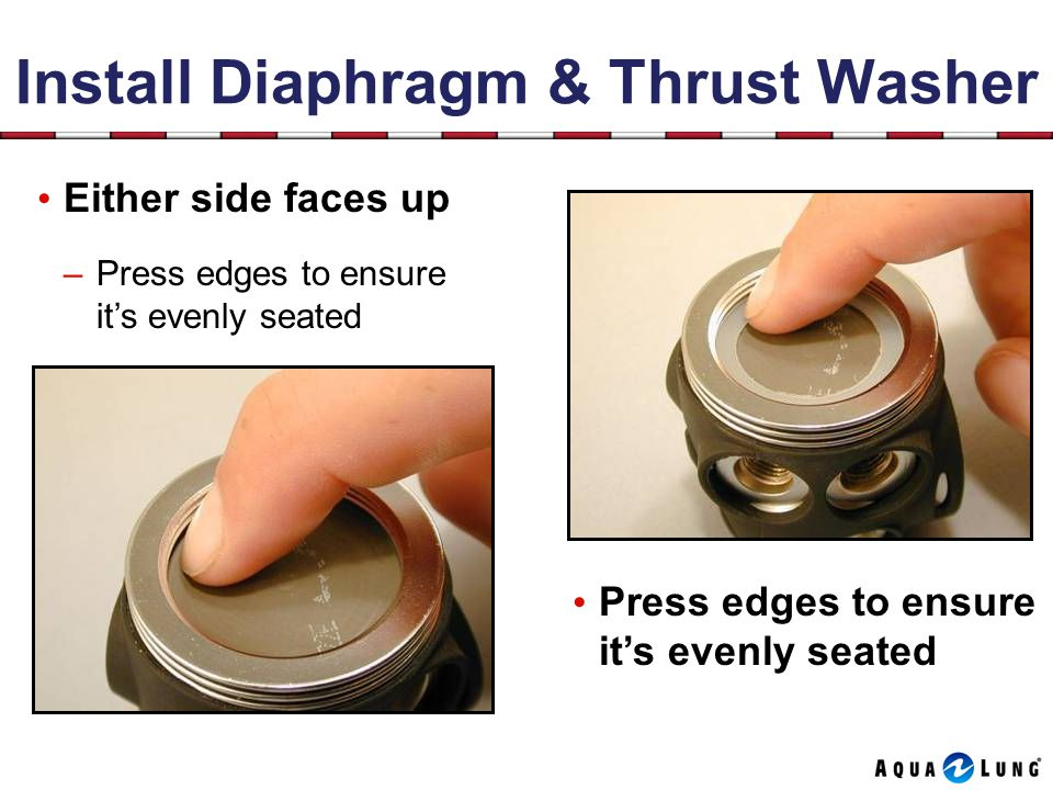 Install Diaphragm & Thrust Washer Press edges to ensure its evenly seated Either side faces up –Press edges to ensure its evenly seated