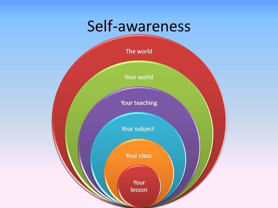 Self-awareness The world Your world Your teaching Your subject Your class Your lesson