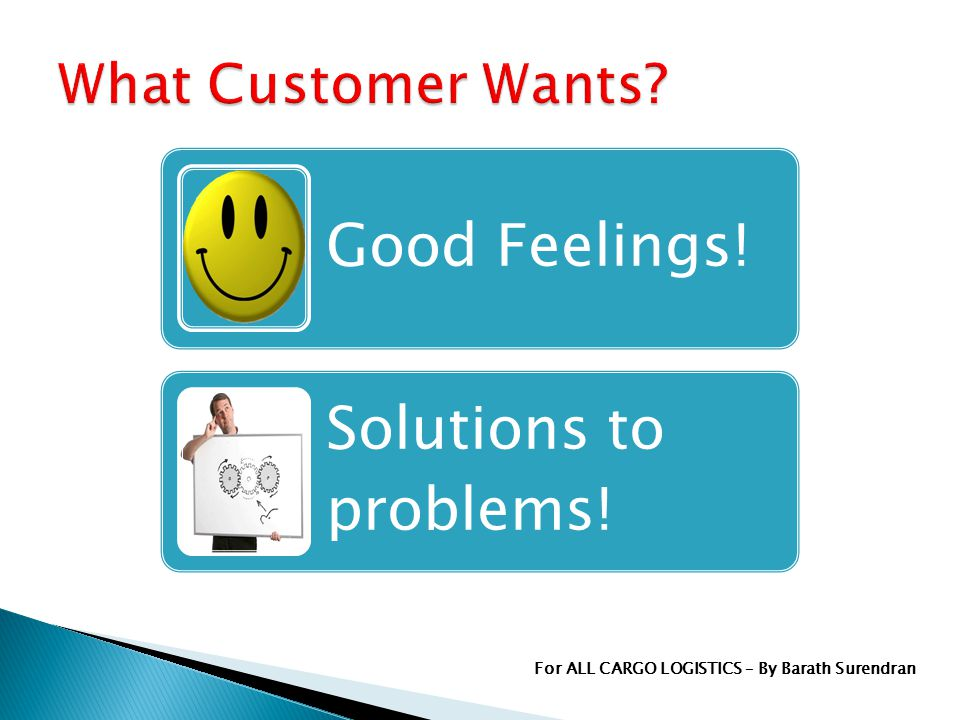 Good Feelings! Solutions to problems! For ALL CARGO LOGISTICS – By Barath Surendran