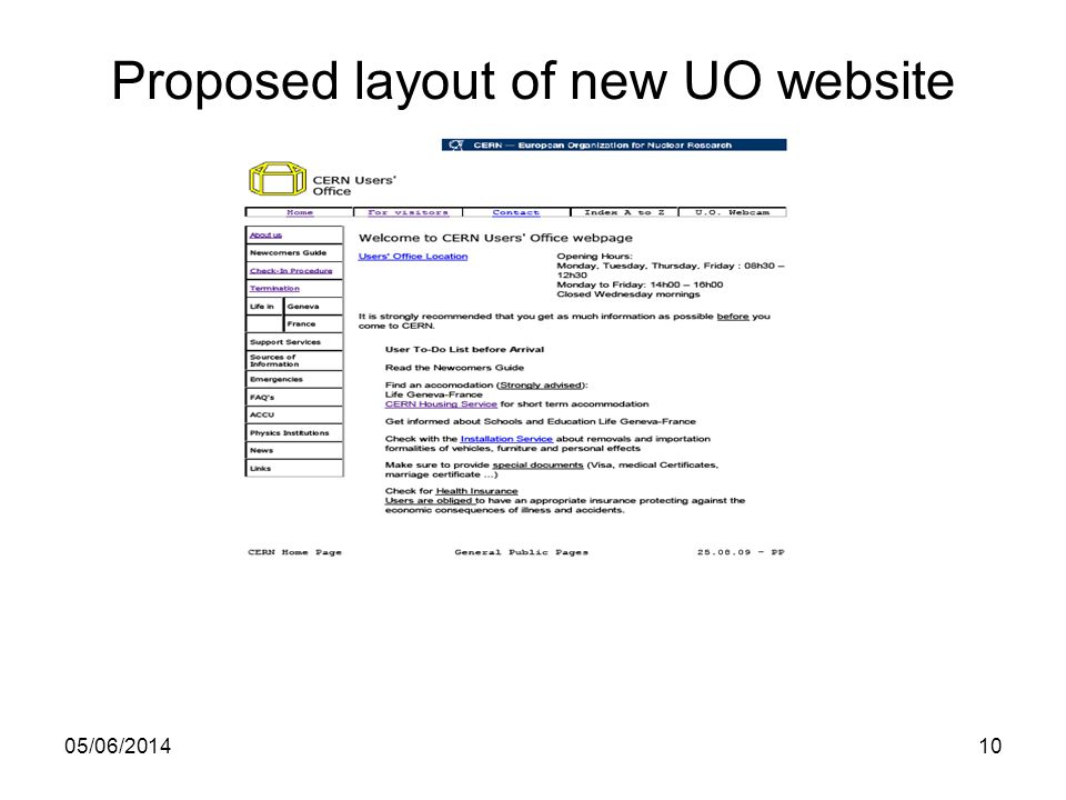 Proposed layout of new UO website 05/06/201410