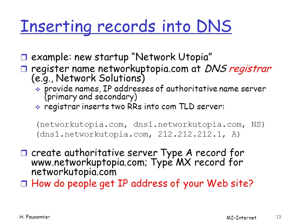 M2-Internet 13 Inserting records into DNS r example: new startup Network Utopia r register name networkuptopia.com at DNS registrar (e.g., Network Solutions) provide names, IP addresses of authoritative name server (primary and secondary) registrar inserts two RRs into com TLD server: (networkutopia.com, dns1.networkutopia.com, NS) (dns1.networkutopia.com, 212.212.212.1, A) r create authoritative server Type A record for www.networkuptopia.com; Type MX record for networkutopia.com r How do people get IP address of your Web site.
