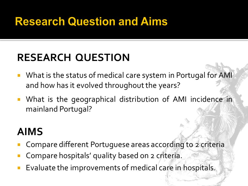 RESEARCH QUESTION What is the status of medical care system in Portugal for AMI and how has it evolved throughout the years.