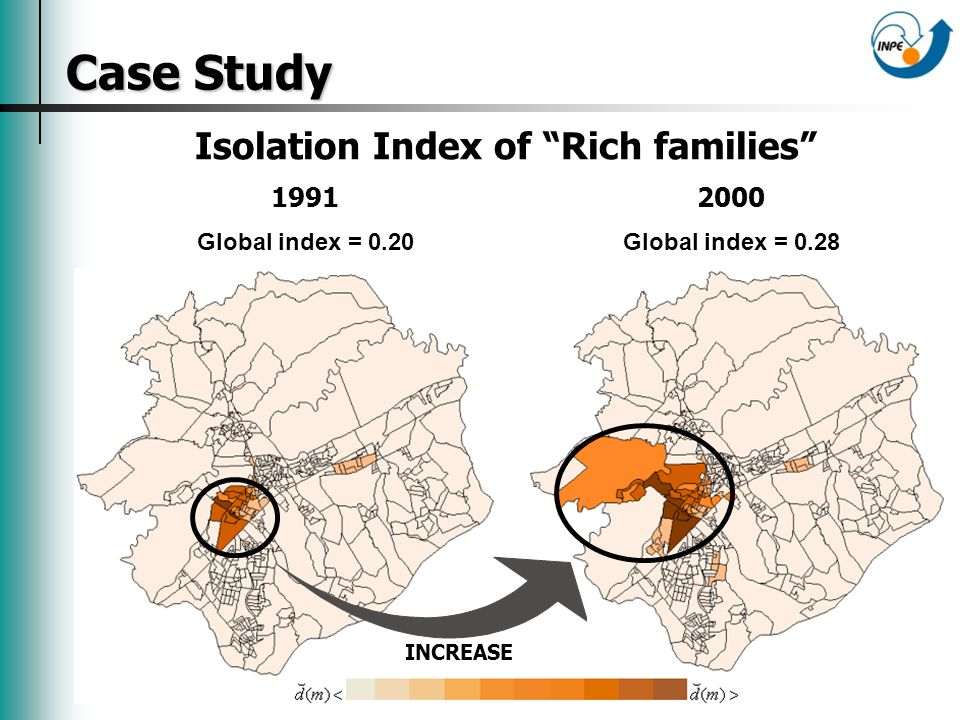 Case Study Isolation Index of Rich families 1991 Global index = 0.20 2000 Global index = 0.28 INCREASE
