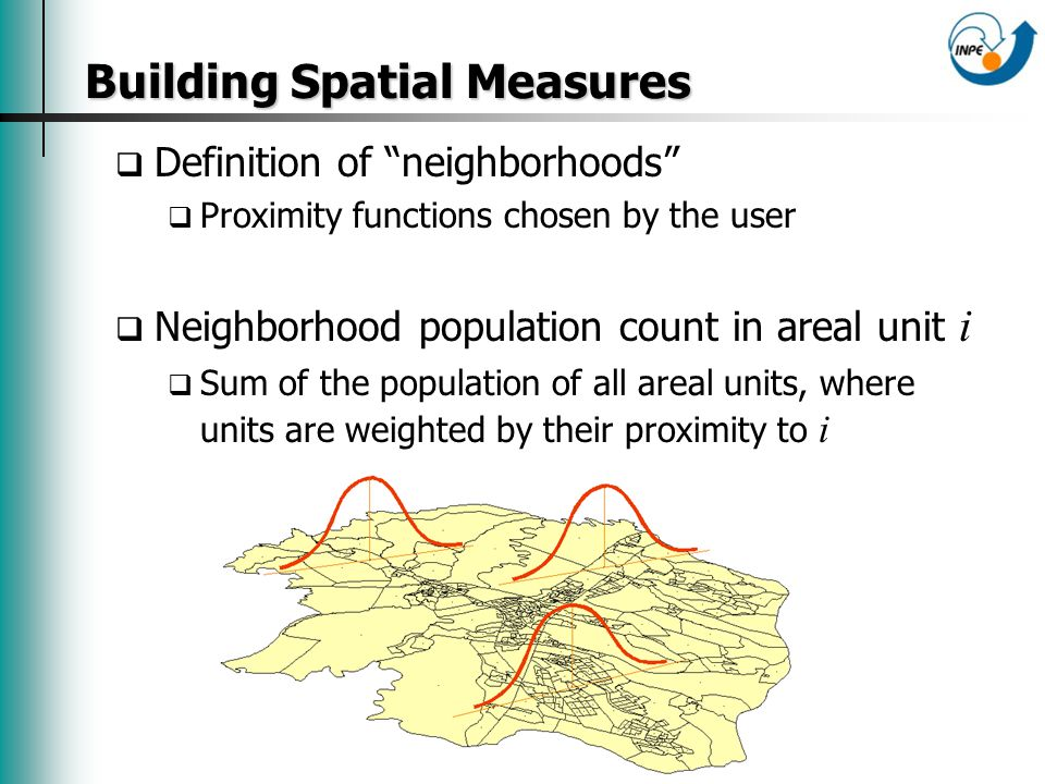 Building Spatial Measures Building Spatial Measures Definition of neighborhoods Proximity functions chosen by the user Neighborhood population count in areal unit i Sum of the population of all areal units, where units are weighted by their proximity to i