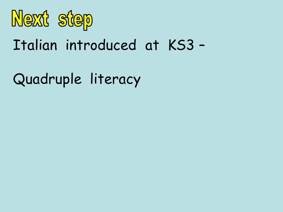 Italian introduced at KS3 – Quadruple literacy