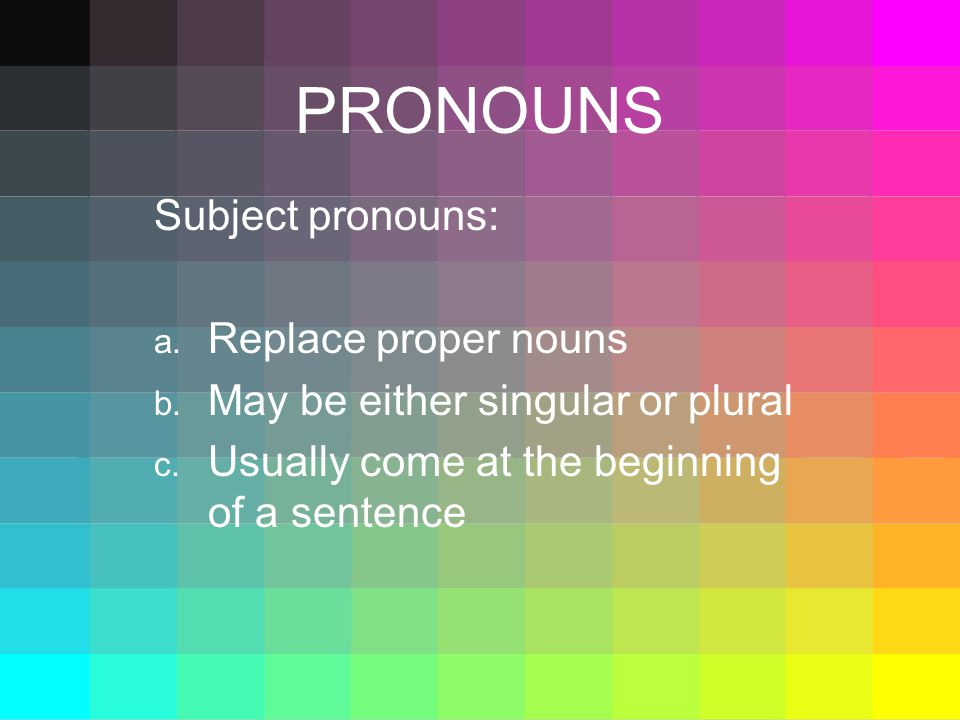 PRONOUNS Subject pronouns: a. Replace proper nouns b.