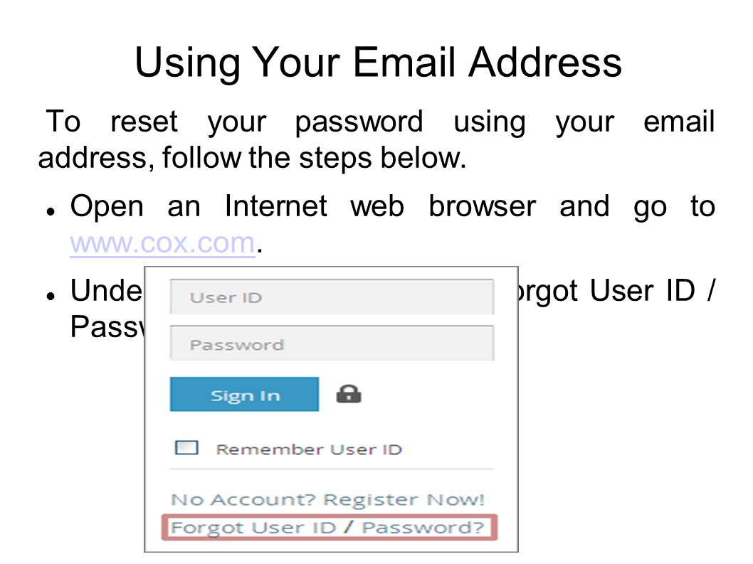 What is your cox user id and password — pic 2