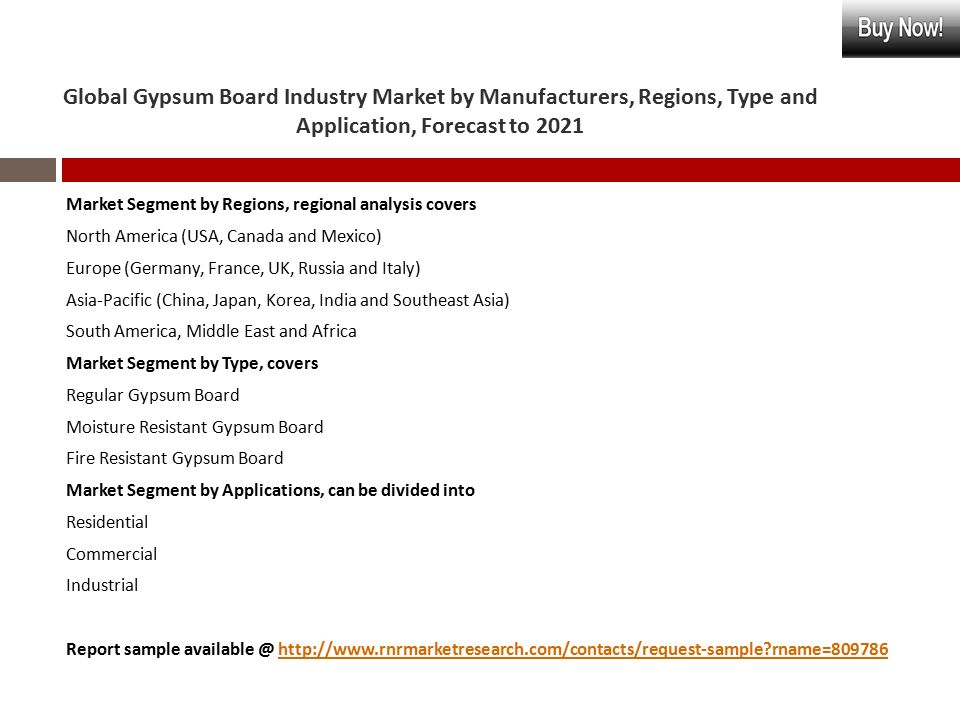 GLOBAL GYPSUM BOARD INDUSTRY MARKET BY MANUFACTURERS, REGIONS, TYPE