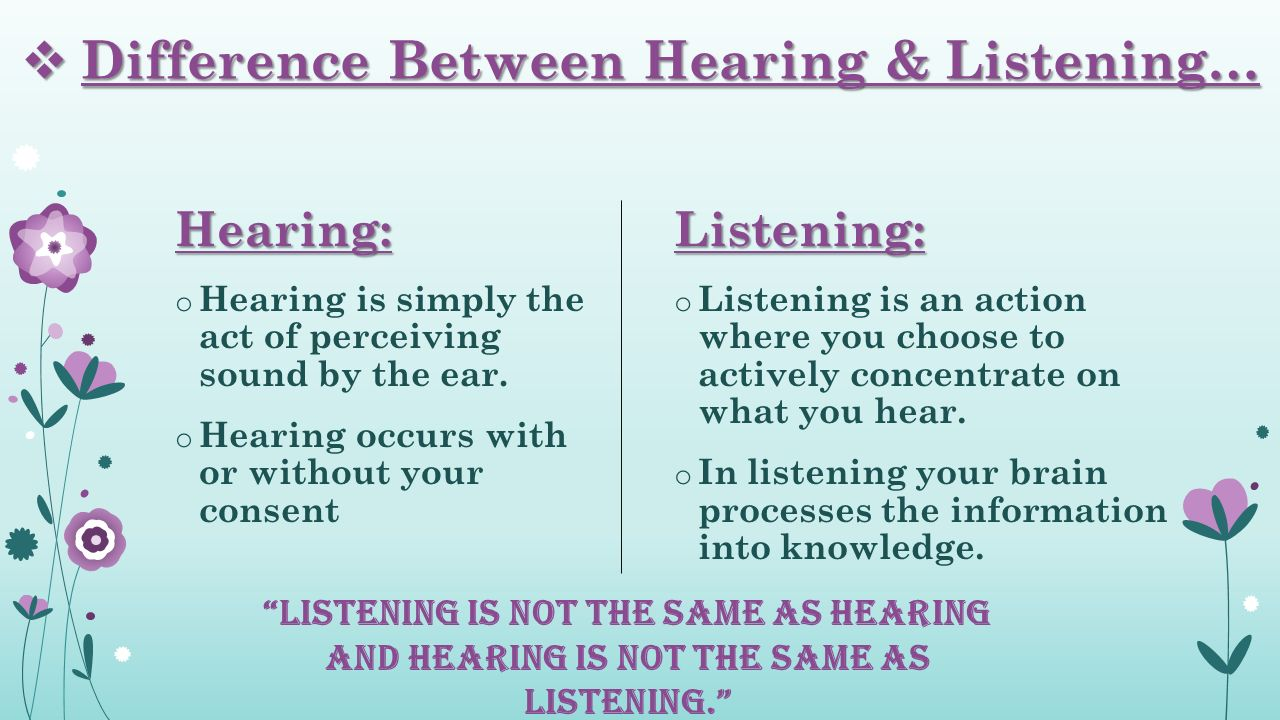 essay on listening and hearing Listening and hearing are both kinds of sense that are processed by the brain through the ear it is the most effective communication between each hearing comes from the word hear while listening is created from the word listen the main difference between listening and hearing can be put in this.