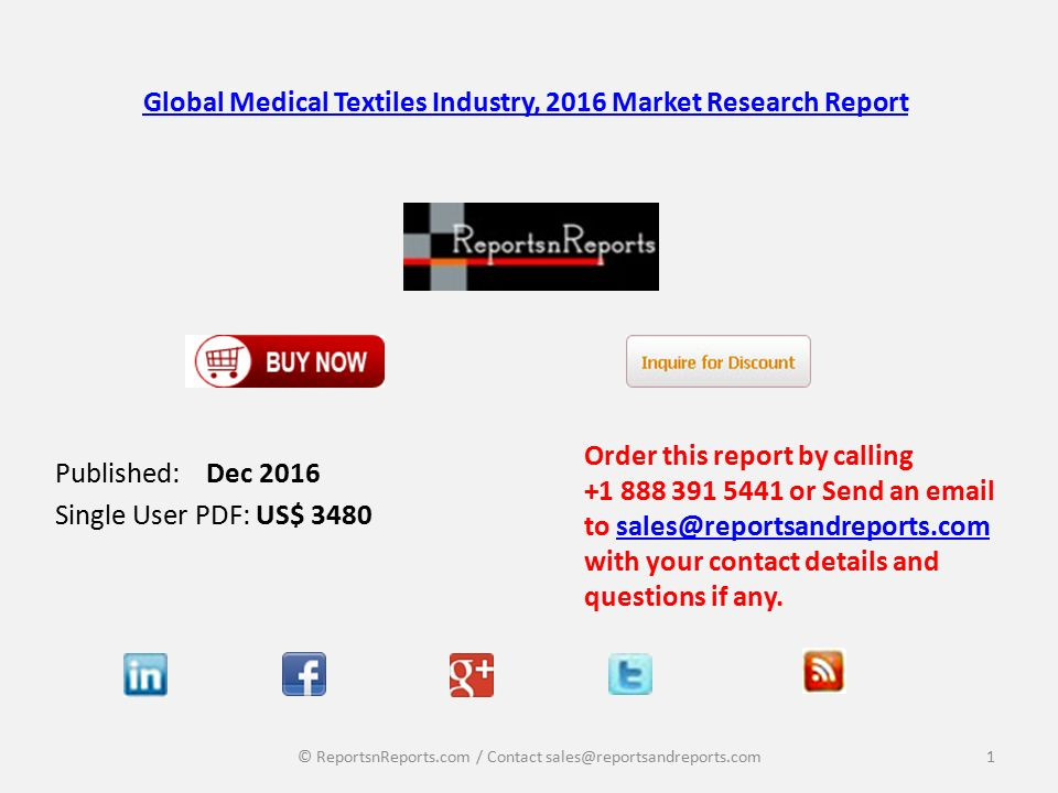 Global Medical Textiles Industry, 2016 Market Research