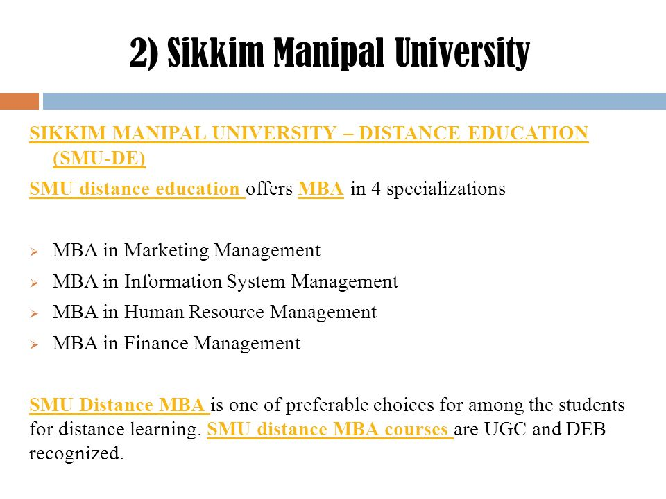 Top 5 universities for distance learning MBA/PGDM courses  - ppt