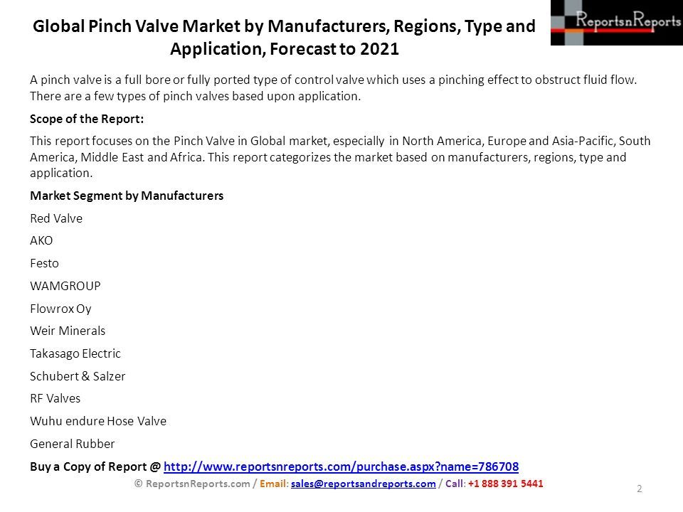 Global Pinch Valve Market by Manufacturers, Regions, Type