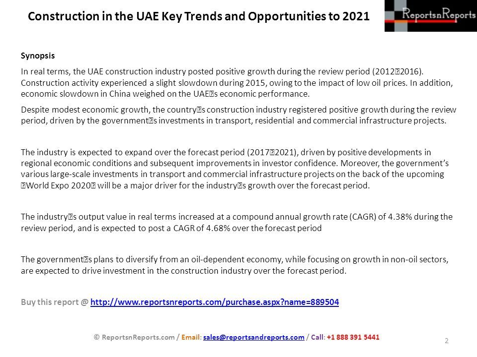 Construction in the UAE Key Trends and Opportunities to 2021