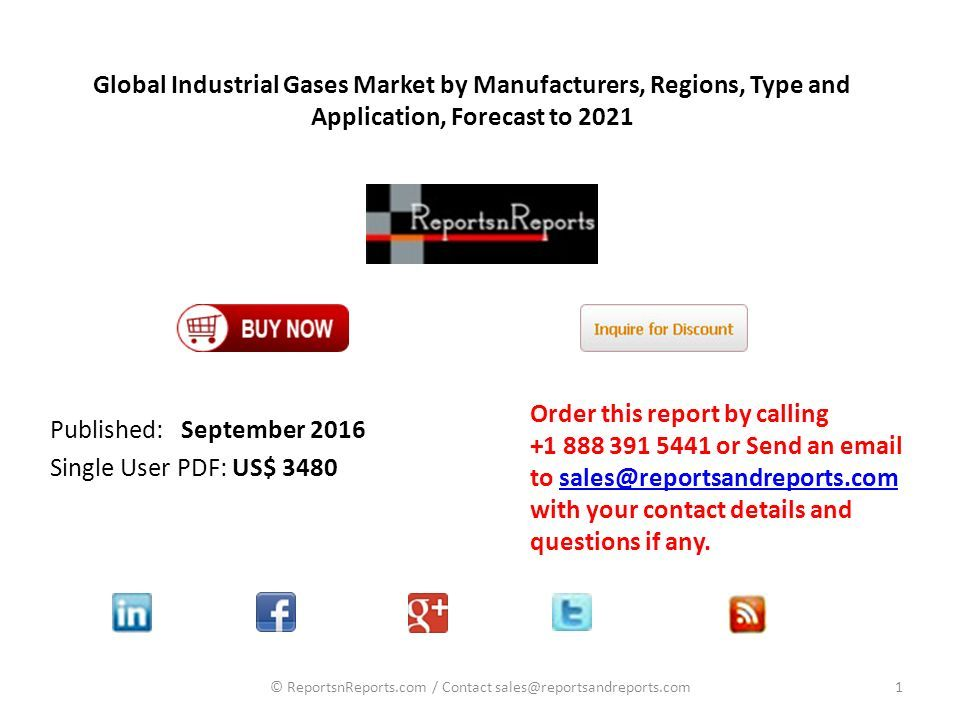 Global Industrial Gases Market by Manufacturers, Regions