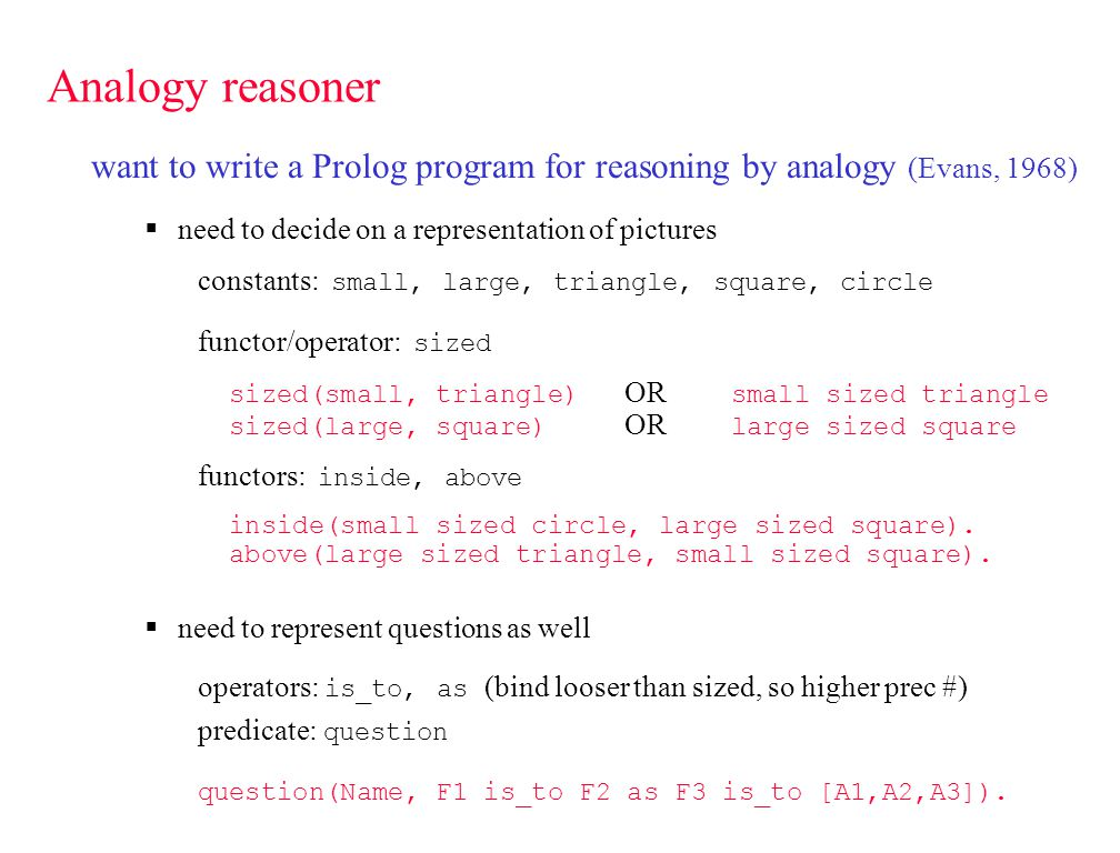 Analogy reasoner want to write a Prolog program for reasoning by analogy (Evans, 1968) need to decide on a representation of pictures constants: small, large, triangle, square, circle functor/operator: sized sized(small, triangle) OR small sized triangle sized(large, square) OR large sized square functors: inside, above inside(small sized circle, large sized square).