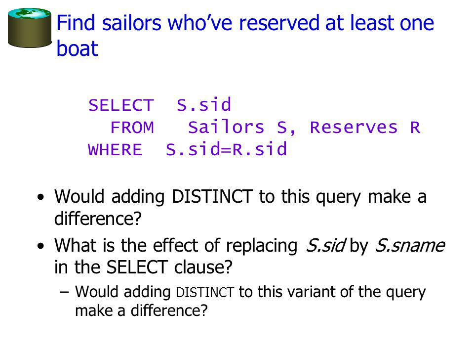 Find sailors whove reserved at least one boat Would adding DISTINCT to this query make a difference.