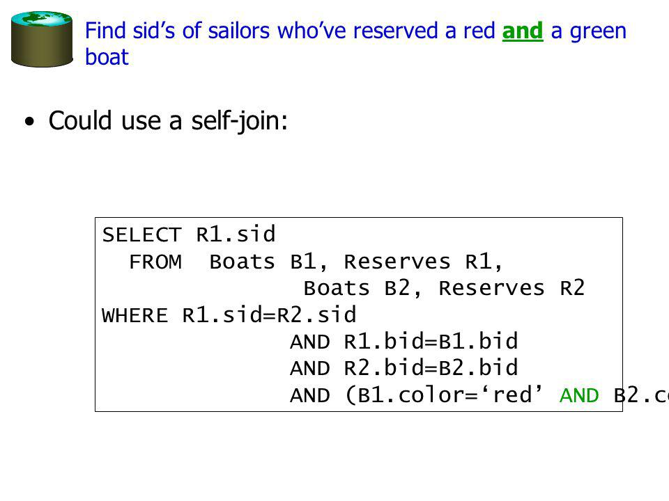 Could use a self-join: SELECT R1.sid FROM Boats B1, Reserves R1, Boats B2, Reserves R2 WHERE R1.sid=R2.sid AND R1.bid=B1.bid AND R2.bid=B2.bid AND (B1.color=red AND B2.color=green) Find sids of sailors whove reserved a red and a green boat