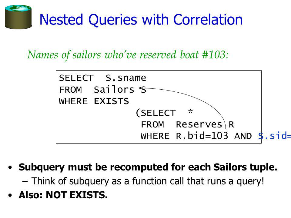 Nested Queries with Correlation Subquery must be recomputed for each Sailors tuple.