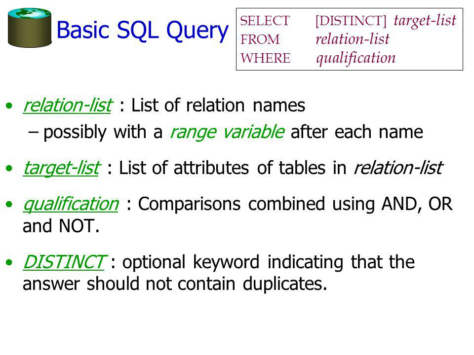 Basic SQL Query relation-list : List of relation names –possibly with a range variable after each name target-list : List of attributes of tables in relation-list qualification : Comparisons combined using AND, OR and NOT.