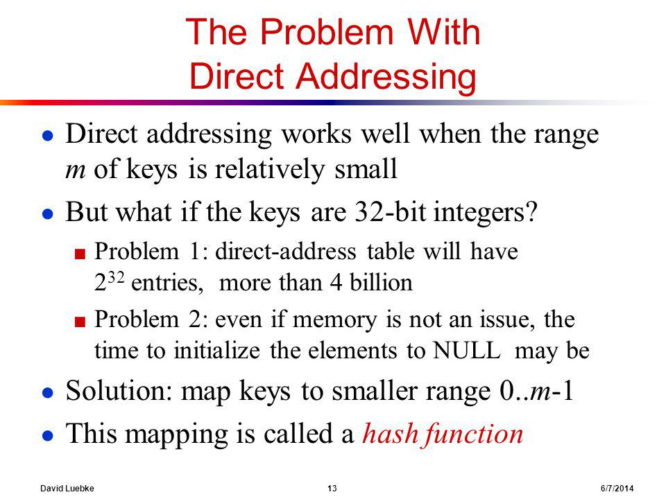 David Luebke 13 6/7/2014 The Problem With Direct Addressing Direct addressing works well when the range m of keys is relatively small But what if the keys are 32-bit integers.