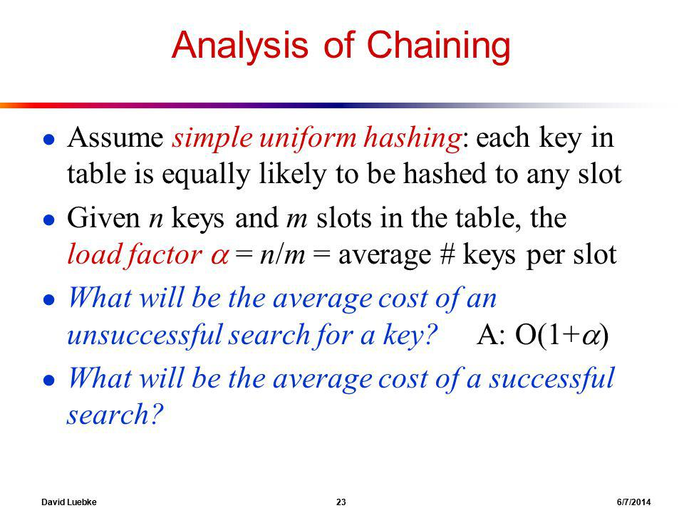 David Luebke 23 6/7/2014 Analysis of Chaining Assume simple uniform hashing: each key in table is equally likely to be hashed to any slot Given n keys and m slots in the table, the load factor = n/m = average # keys per slot What will be the average cost of an unsuccessful search for a key.