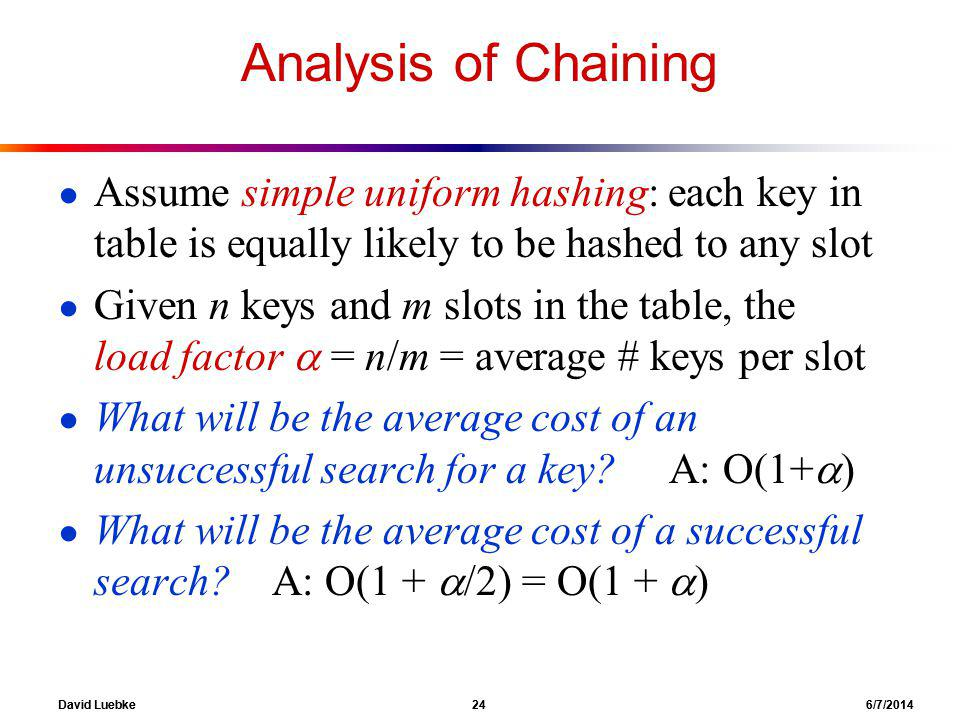 David Luebke 24 6/7/2014 Analysis of Chaining Assume simple uniform hashing: each key in table is equally likely to be hashed to any slot Given n keys and m slots in the table, the load factor = n/m = average # keys per slot What will be the average cost of an unsuccessful search for a key.