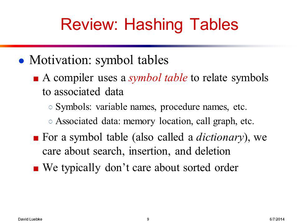 David Luebke 9 6/7/2014 Review: Hashing Tables Motivation: symbol tables A compiler uses a symbol table to relate symbols to associated data Symbols: variable names, procedure names, etc.
