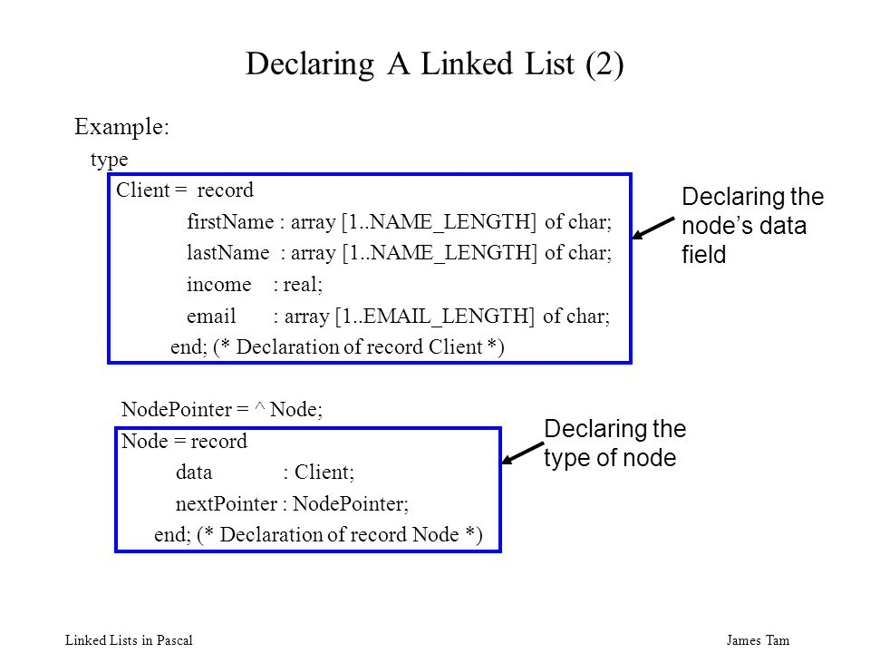James Tam Linked Lists in Pascal Declaring A Linked List (2) Example: type Client = record firstName : array [1..NAME_LENGTH] of char; lastName : array [1..NAME_LENGTH] of char; income : real; email : array [1..EMAIL_LENGTH] of char; end; (* Declaration of record Client *) NodePointer = ^ Node; Node = record data : Client; nextPointer : NodePointer; end; (* Declaration of record Node *) Declaring the nodes data field Declaring the type of node