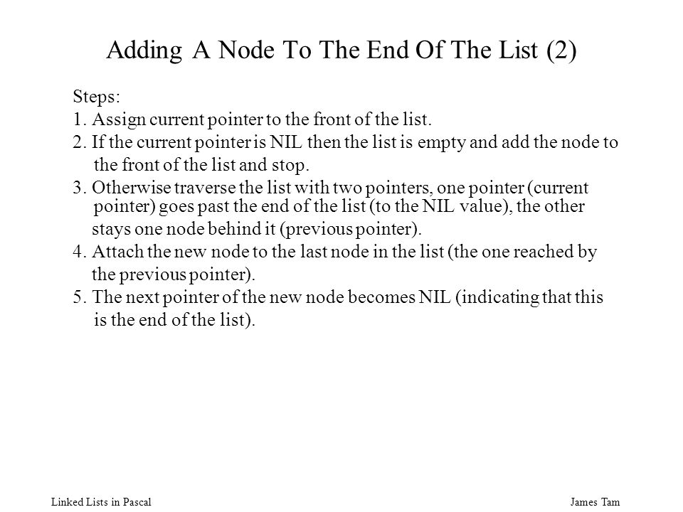 James Tam Linked Lists in Pascal Adding A Node To The End Of The List (2) Steps: 1.