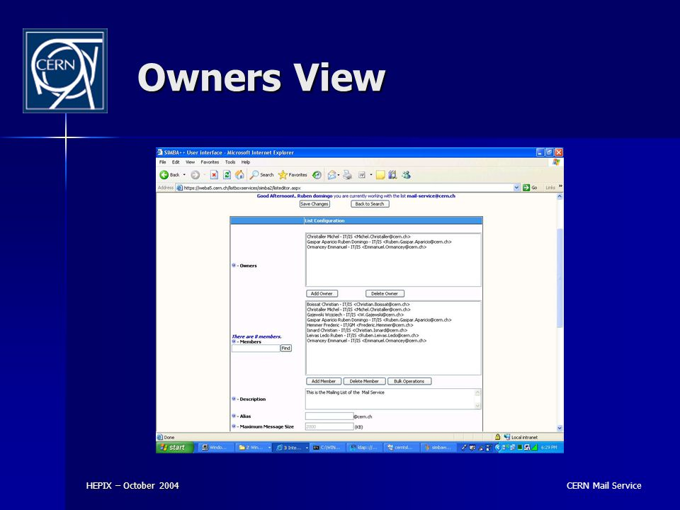 CERN Mail Service HEPIX – October 2004 Owners View