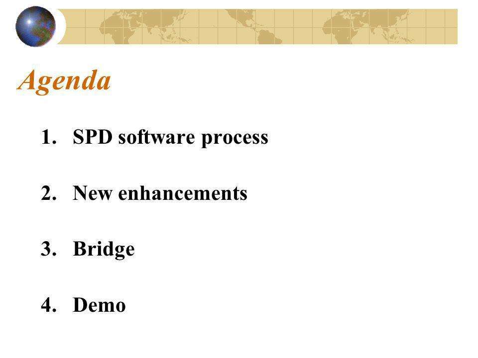 Agenda 1.SPD software process 2.New enhancements 3.Bridge 4.Demo