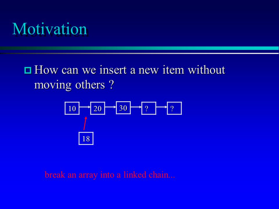 Motivation p How can we insert a new item without moving others .