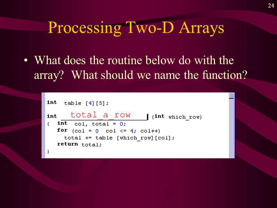 23 Processing Two-D Arrays Arrays processed in some pattern –random –along rows –along columns –whole array We will use the declaration shown below: int int_table [5][4]; int row, col;