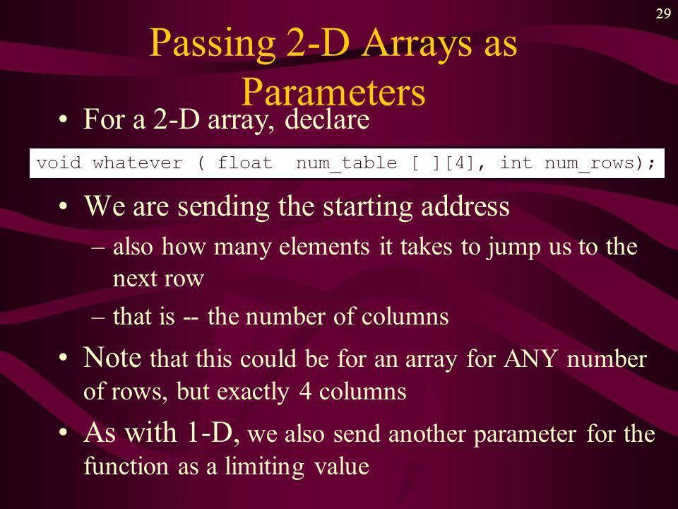 28 Passing Arrays as Parameters Recall declaration for 1-D array we didnt specify the size in the brackets –we sent the size as a separate parameter Recall name of the array is a pointer constant –tells where the array starts in memory –this is what is passed to the function void whatever ( float num_list [ ], int size);