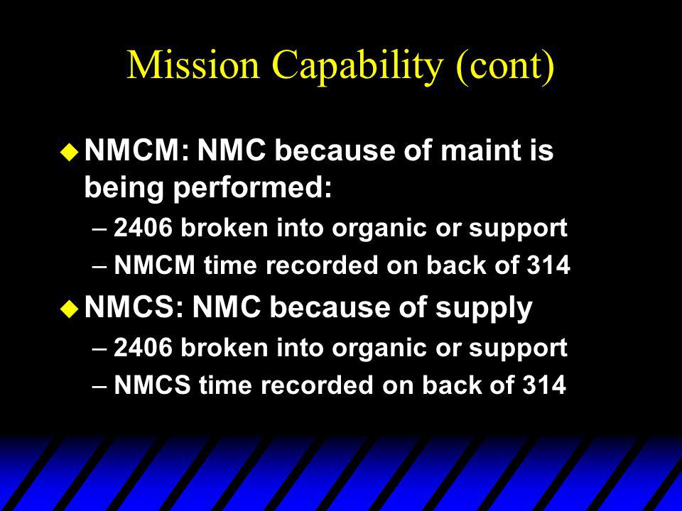 Mission Capability (cont) u NMCM: NMC because of maint is being performed: –2406 broken into organic or support –NMCM time recorded on back of 314 u NMCS: NMC because of supply –2406 broken into organic or support –NMCS time recorded on back of 314