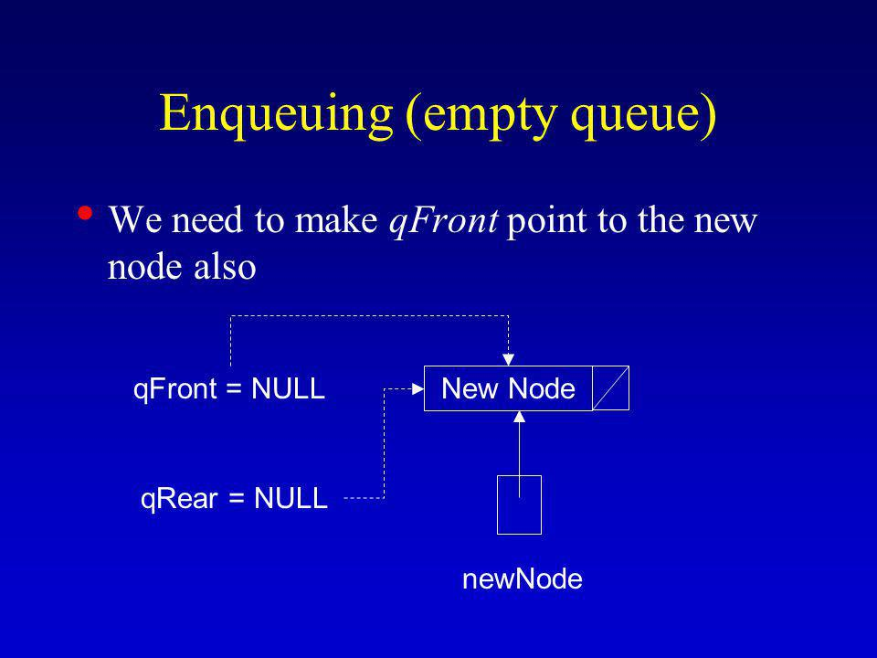 Enqueuing (empty queue) We need to make qFront point to the new node also New Node newNode qFront = NULL qRear = NULL