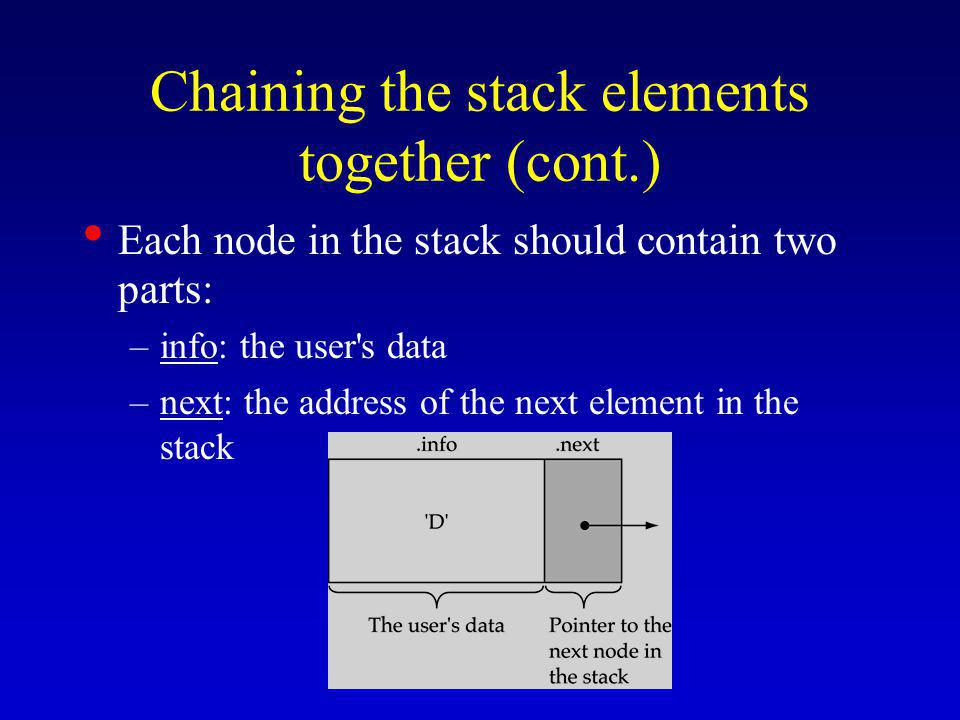 Chaining the stack elements together (cont.) Each node in the stack should contain two parts: –info: the user s data –next: the address of the next element in the stack